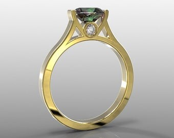 10k yellow gold engagement ring, 7mm round lab crated alexandrite and two 2mm white diamonds(G-H/VS-SI), AKR-471