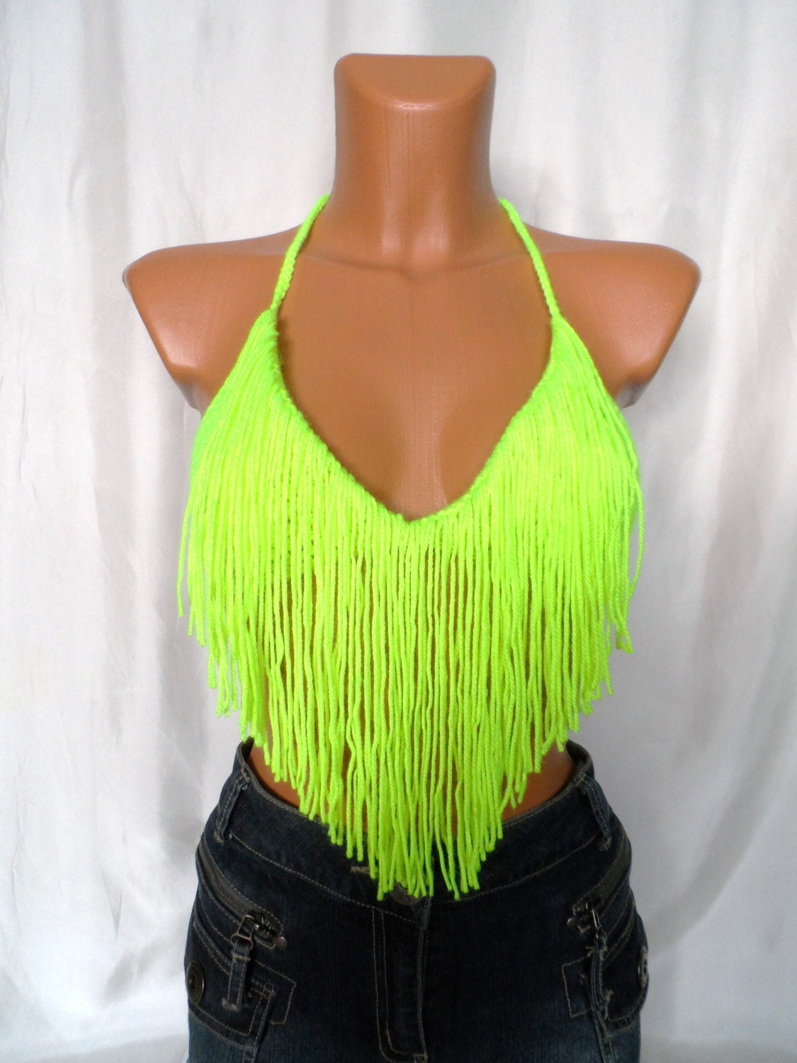 Summer Festival Top Fringes Neon Yellow Green Top Color Top