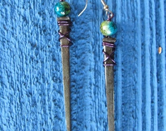 Earrings made with old square head nails