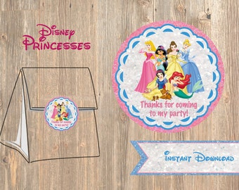 Disney Princesses Favor Tag or Labels,  Princess Birthday Party Favor, Printable Treat Bag Label Thank You Sticker Disney's,  2 inch Tags