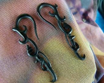 8 Gauge Tribal Horn Earrings (Pair)  3mm / 8 Gauged Horn - Handcrafted 3 mm Organic Horn Stretch Plug Earring B002
