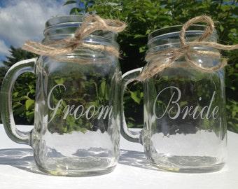 Bride & Groom Mason Jars, Engraved Mason Jars, Custom Mason Jars, Personalized Mason Jar, Wedding Party Mason Jars