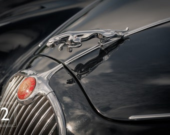 A close up of a black Jaguar classic car. Only its hood ornament and grill reveal its pedigree.