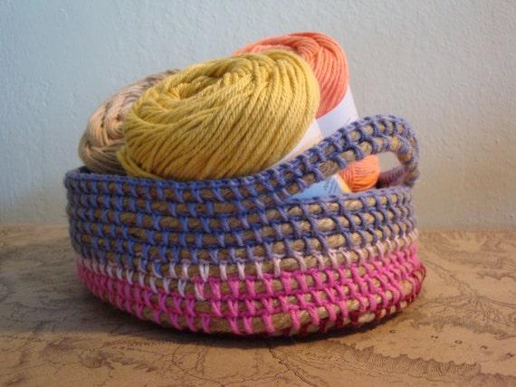 Handmade Jute Baskets : Toiletries crochet basket jute rope handmade