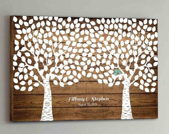 275 Guest CANVAS Wedding Guest Book Wood Two Double Tree Wedding Guestbook Canvas Alternative Guestbook Canvas Wedding Guestbk - Wood design