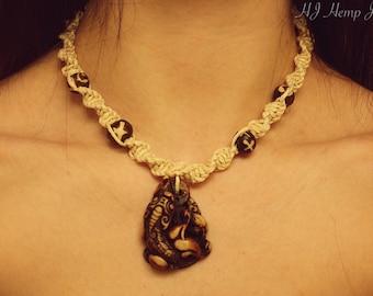 Koi Fish Yak Bone Hemp Necklace