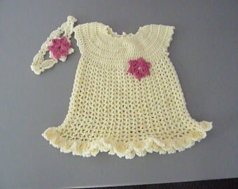 Pale Yellow Crocheted Dress and Head Band 12 to 18 month