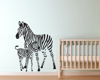 Zebra nursery wall decal, kids wall decal, animal wall decal, zoo wall decal,  nursery wall art, zebra sticker, baby shower gift, wall decal