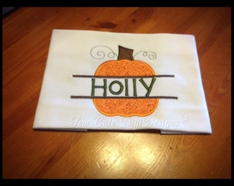 Festive Fall Harvest or Halloween Pumpkin Split Applique Design