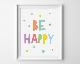 Playroom wall art, children print, kids decor, mini learners, nursery printable, Be happy quote, kids print, nursery art, be happy print