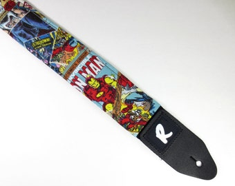 Superhero Comic Strip Guitar Strap - Spiderman - Hulk - Iron Man