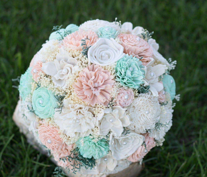 Mint Wedding Flowers: Wedding Bouquet Mint Peach Ivory Sola Flower Bridal