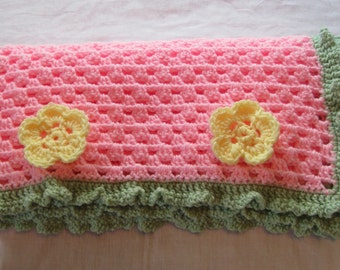 Crochet Baby Girl Blanket with Flowers Pink Yellow Green Photo Prop Made to Order