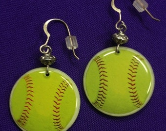 Fast Pitch or Softball Earrings - on sterling earwires