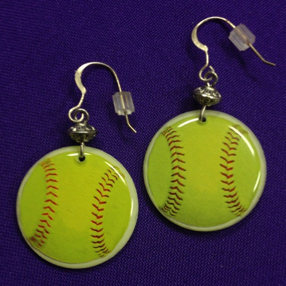 fast pitch or softball earrings on sterling earwires