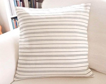 "Black and White Stripe Cotton Canvas Throw Pillow Cover 16"" Square"