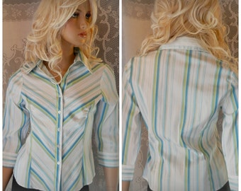 White button up shirt,  Women bloues, Fitted blouse, Quarter sleeve shirt, V neck shirt, Stripped shirt, Office blouse