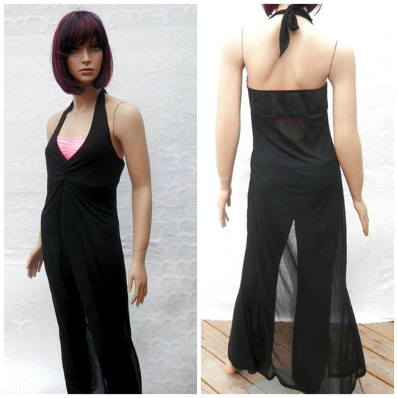 VINTAGE PANTS SUIT Black pant suit Halter by ...