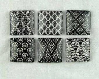 Set of Six Refrigerator Locker Magnets Black Damask
