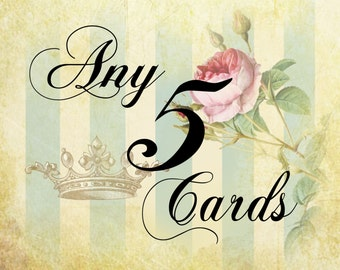 Greeting Cards, Art Cards, Marie Antionette themed cards, Original Art Cards, Choose any 5 WickedlyLovely Art  Greetings cards