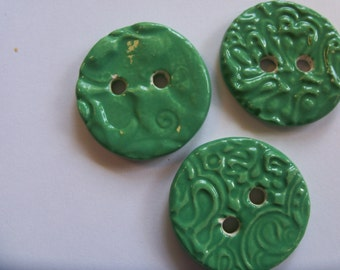 3 Bright Green Glazed Ceramic Buttons - Set of 3