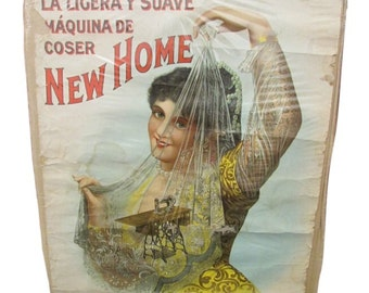 Antique advertising poster  Original 1880s New Home SEWING MACHINE Color Litho Roll down Advertising Sign