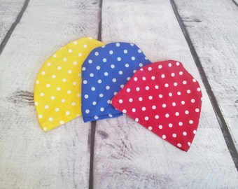 Retro baby girls polka dot swim cap to match your swimsuit sizes Newborn to 12 months