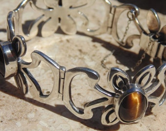 Mexican Sterling Silver and Tigers Eye Vintage Bracelet