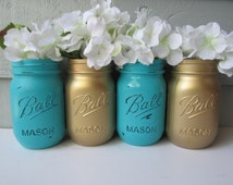 Painted and Distressed Ball Mason Jars- Gold Metalic and Medium Turquoise-Set of 4-Flower Vases, Rustic Wedding, Centerpieces