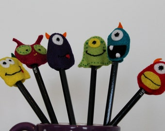 Felt Pencil Toppers - Monsters and Aliens