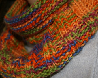 Bright Multi-Coloured Chunky Knit Infinity Scarf