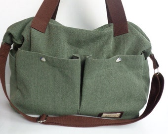 Green Shoulder bag- Messenger Diaper bag-tote-large bag/ 2 pocket outside/crossbody bag