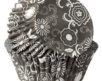 Black and White Flower ColorCups Wilton Greaseproof Cupcake Liners Baking Cups Muffin Cups