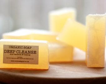 DEEP CLEANSE Organic Soap, with Tea Tree & Cedarwood essential oils. Vegan friendly. 100g bar.