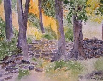 "original watercolor painting by Peter Kundra,10.25 x 7,""BASKINGIn The SUN"",realism painting"