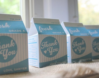 Milk and Cookies Thank You Milk Carton Favor Box and Cookie Tags - Printable, Cookie Party, Cookies and Milk, Digital File, Party Decor