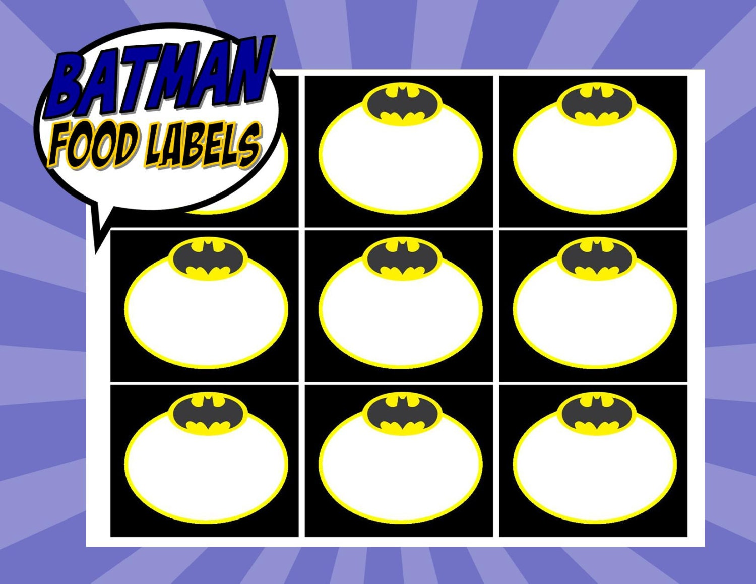 Batman Party Food Labels Superheroes