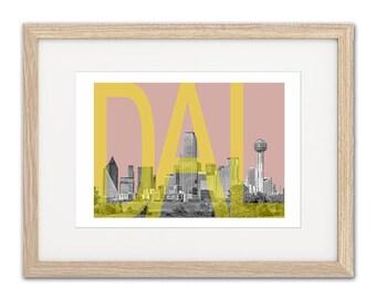 Dallas Skyline - Dallas Art - Dallas map - Dallas poster - Dallas Custom Art - Dallas Art Print - Dallas - Texas