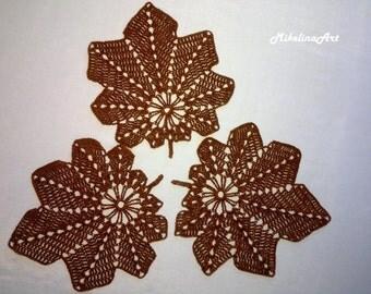 Set of 3 Crochet Leaf Napkins, Crochet Coasters, Brown, 100% Cotton.