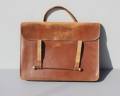 Antique Leather Satchel with documents 1930's
