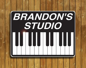 Piano or keyboards sign, personalized for you on solid aluminum