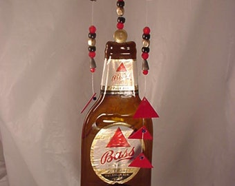 Wind Chimes created from Melted Bass Ale Beer Bottles are an Exclusive Design Decorated with Coordinating Beads from Crafts by the Sea.