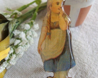 Victorian Girl in Blue Dress Resin Pin
