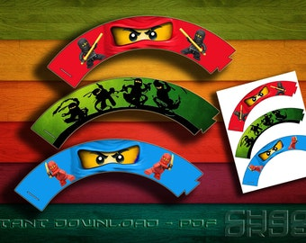 Ninjago Cupcake Wrappers - Instant Download