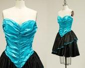 Vintage Black And Aqua Blue Satin Mini Party Dress / Prom Dress / Small