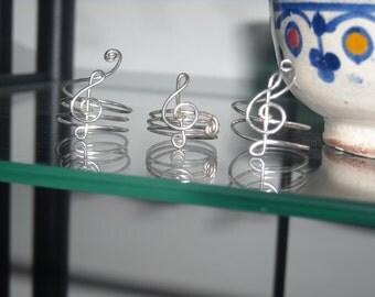 CHIAVE VIOLINO ANELLO Argento Gioiello Nichel-Free Anello Argento Hand Made Italy Anello Regolabile Love Music Ring Gift for Her Every Time