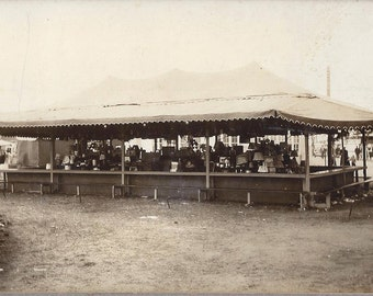 Mason Studio Orig. Cabinet Photo - Spencer IA County Fair Carnival 1940s Coin Toss Tent