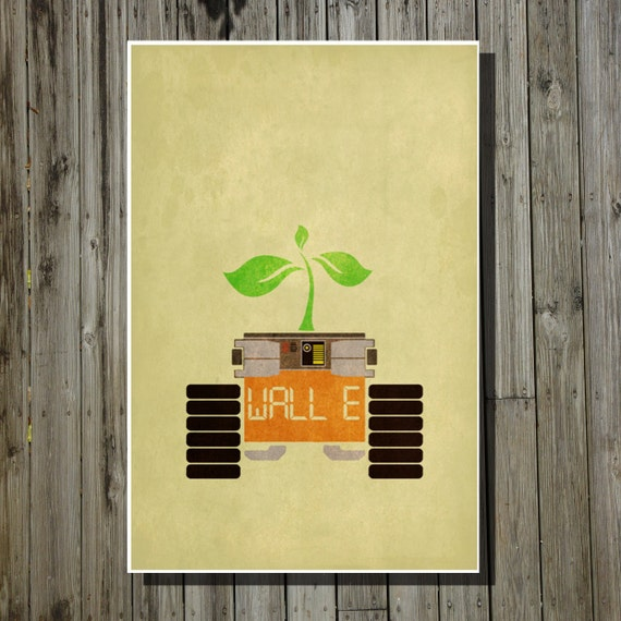 Wall e movie poster pixar print disney minimalist movie art for Minimal art wall