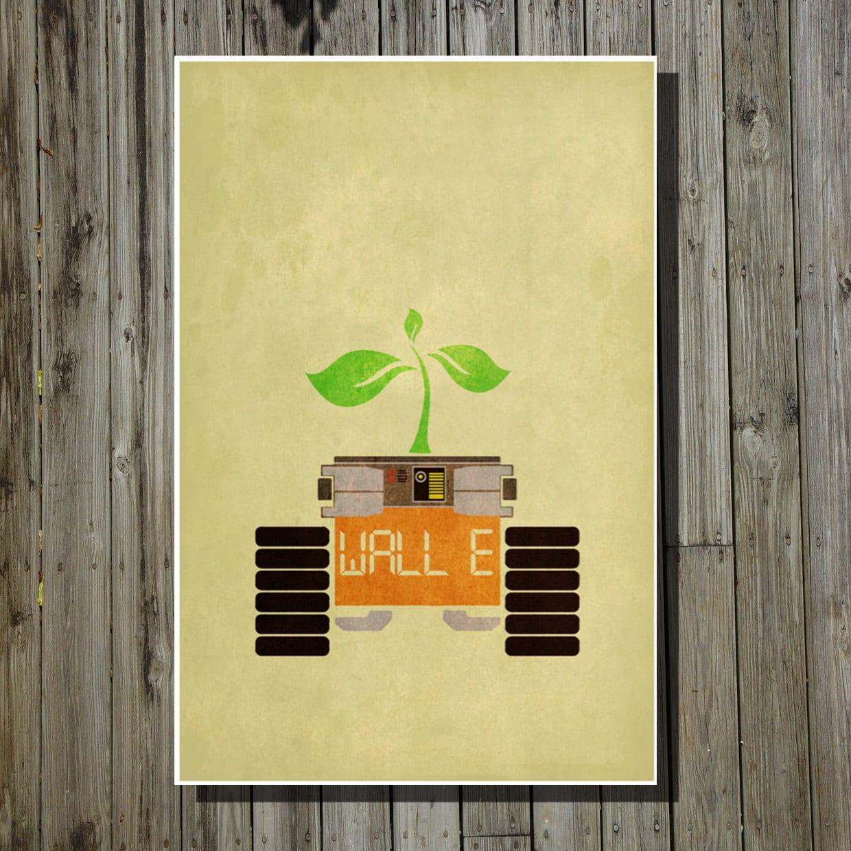 Wall-E movie poster Pixar print Disney minimalist movie art