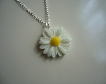 White Daisy Resin Pendant Necklace, Flower Necklace, Daisy Necklace, Silver Necklace- Nickel Free